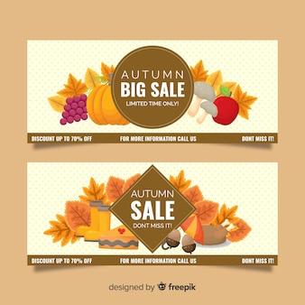 Herfst verkoop banner vlakke stijl