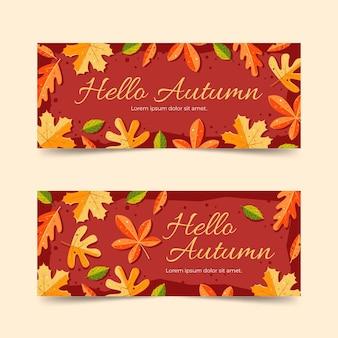 Herfst verkoop banners in platte ontwerp