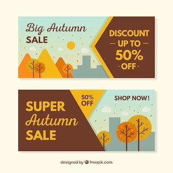 Herfst verkoop banners in vlakke stijl
