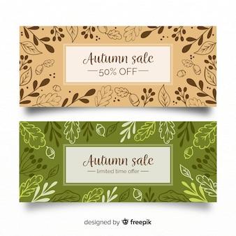 Herfst verkoop banners met herfst bladeren