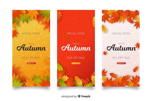 Herfst verkoop banners plat ontwerp
