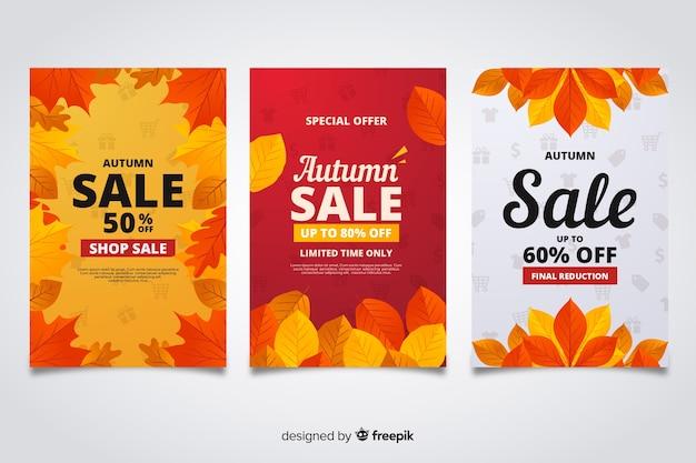 Herfst verkoop banners vlakke stijl