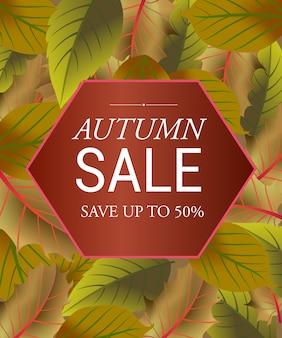 Herfst verkoop belettering in zeshoek op blad achtergrond. bespaar tot 50 procent belettering