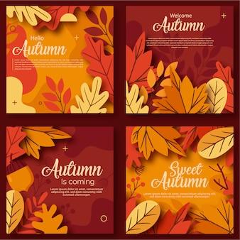 Herfst verkoop en verzameling kaarten