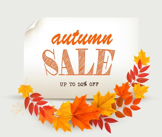 Herfst verkoop kaart met kleurrijke bladeren. vector.
