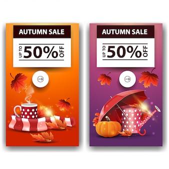 Herfst verkoop, korting banners