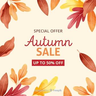 Herfst verkoop met gedroogde bladeren