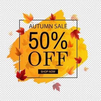 Herfst verkoop met oranje blob transparante achtergrond