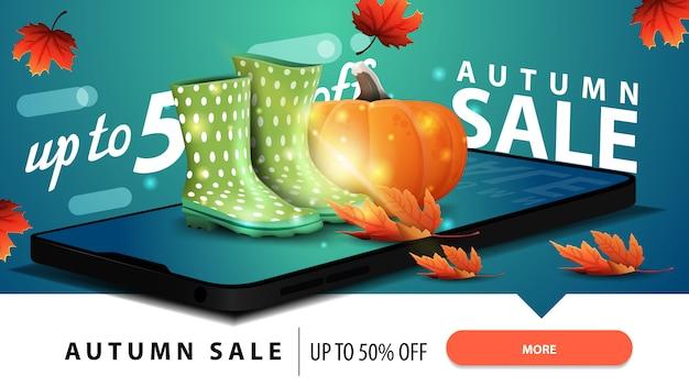 Herfst verkoop, moderne korting webbanner met een smartphone