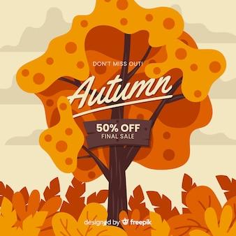 Herfst verkoop plat ontwerp als achtergrond