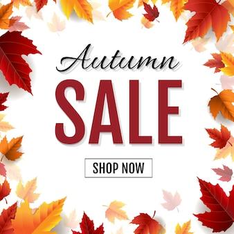 Herfst verkoop poster met bladeren