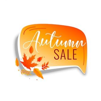 Herfst verkoop praatjebel met oranje bladeren