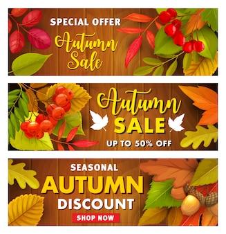Herfst verkoop promo banners met herfstbladeren