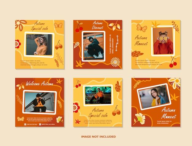 Herfst verkoop sociale media sjabloon met esdoorn bladeren gebruik voor print en e-commerce webbanner