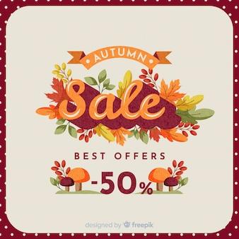 Herfst verkoop vintage achtergrondontwerp