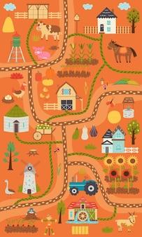 Herfst verticale rustieke boerderij kaart. kaartbouwer dorp, boerderijdieren, ranch. kinderkamerontwerp voor posters, tapijt, kinderkamer. vector hand tekenen illustratie