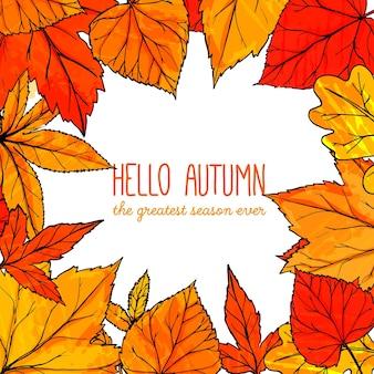 Herfst vierkant frame met handgetekende gouden bladeren. hallo herfstbanner. vector herfstontwerp voor advertenties, wenskaarten en sociale media-inhoud.