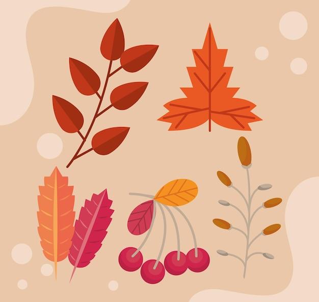 Herfst vijf bladeren