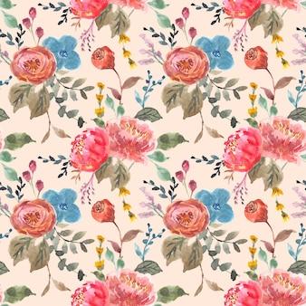 Herfst vintage bloemen aquarel naadloos patroon