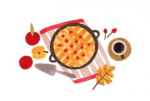 Herfst voedsel hand getekende illustratie. traditionele thanksgiving maaltijd bovenaanzicht. zelfgemaakte bakken aquarel. appeltaart met amerikaanse veenbessen en koffiekop op witte achtergrond wordt geïsoleerd die.