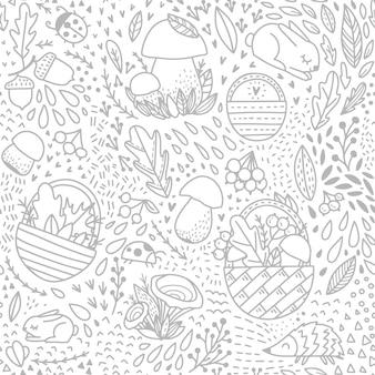 Herfst volwassen patroon met bos elementen