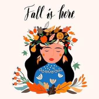 Herfst wenskaart met meisje draagt een seizoensgebonden krans.