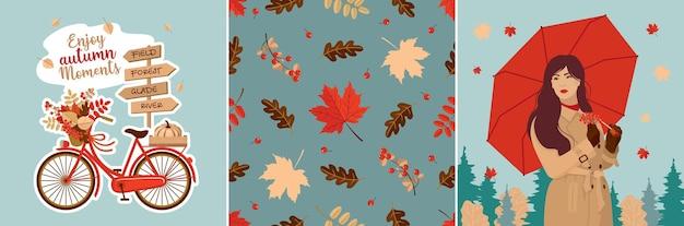 Herfst wenskaarten set: meisje, paraplu, naadloos bladpatroon, pompoen, fiets, verkeersbord.