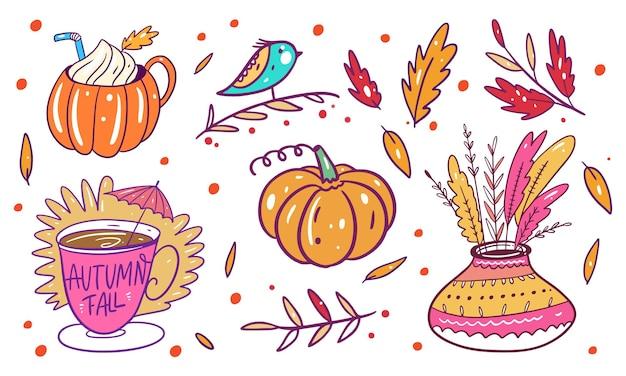 Herfst zinnen en florale elementen instellen. hand getekend kleurrijk