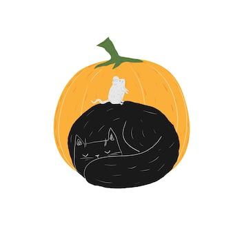 Herfst zwarte kat met muis en pompoen halloween doodle schattig slapende kitten huisdieren voorraad vector