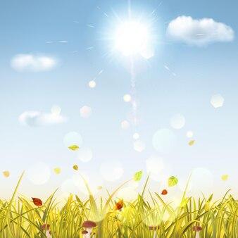 Herfstachtergrond met geel gras, paddenstoelen, bladeren, lucht, zon en wolken