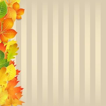 Herfstachtergrond met gele, groene, oranje bladeren en verticale stroken