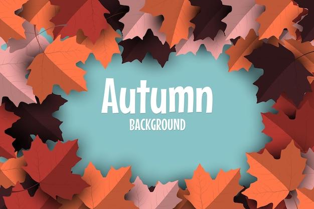Herfstachtergrond met kleurrijke herfstbladeren