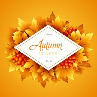 Herfstbanner met frame en bladeren