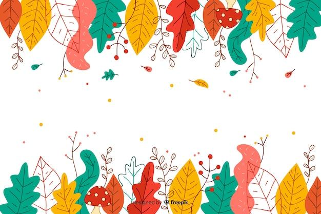 Herfstbladeren achtergrond hand getrokken stijl