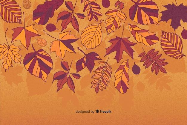 Herfstbladeren achtergrond plat ontwerp