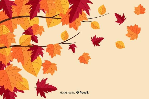 Herfstbladeren achtergrond vlakke stijl