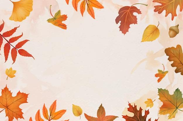 Herfstbladeren beige achtergrond vector