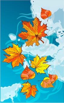 Herfstbladeren drijvend in een plas. weerspiegeling van een blauwe lucht met wolken. kaart met kleurrijke herfstelementen. vector illustratie. herfst banner achtergrond.