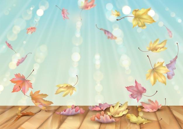 Herfstbladeren dwarrelen in de wind