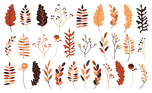 Herfstbladeren en bessen platte set. hand getekend abstracte stijl voor decoratieve seizoensgebonden compositie voor uitnodigingskaart. geel, oranje en rood herfstblad.