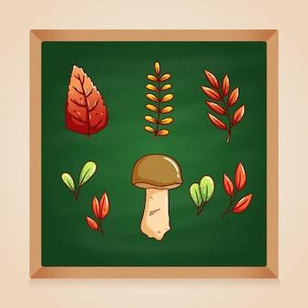 Herfstbladeren en paddestoel met coloful stijl