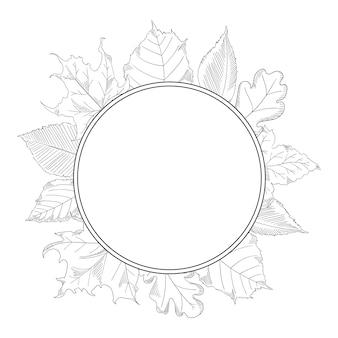 Herfstbladeren frame in een schetsstijl