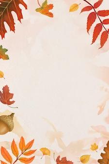 Herfstbladeren frame vector op beige background