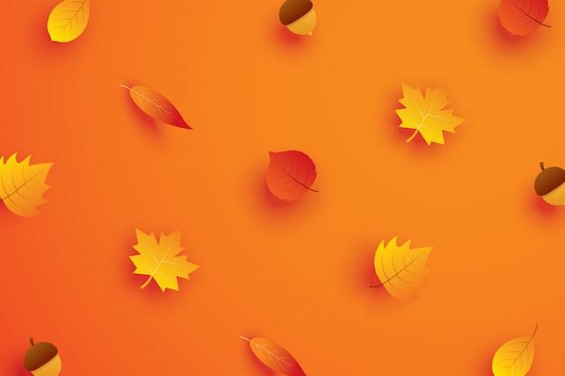 Herfstbladeren in papier kunststijl op oranje achtergrond.