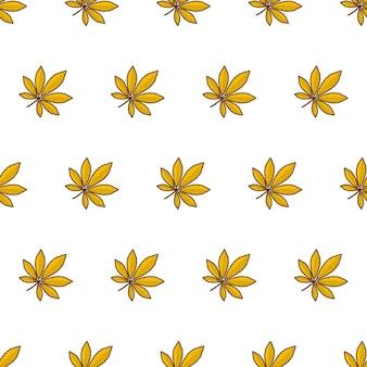 Herfstbladeren naadloos patroon op een witte achtergrond. herfstblad of herfstgebladerte thema vectorillustratie