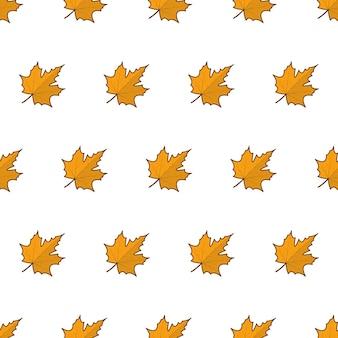 Herfstbladeren naadloos patroon op een witte achtergrond. herfstbladeren of herfstgebladerte thema vectorillustratie