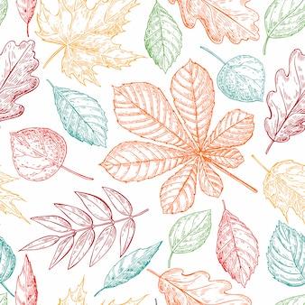 Herfstbladeren naadloos patroon