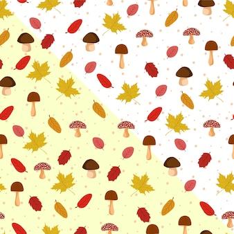 Herfstbladeren naadloze patroon met paddestoel