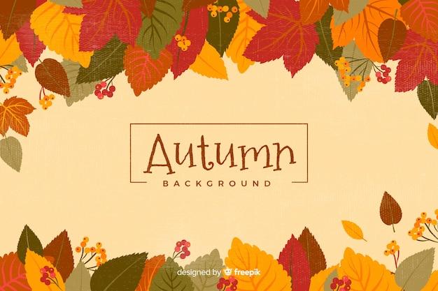 Herfstbladeren plat ontwerp als achtergrond