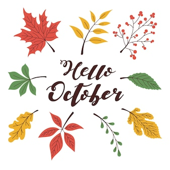 Herfstbladpatroon en hallo oktober-letters. afdrukken voor kleding, pasuda, textiel. briefkaart, uitnodiging, banner. vectorillustratie eps10.